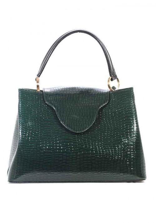 Лаковая женская сумка глубокого зеленого цвета