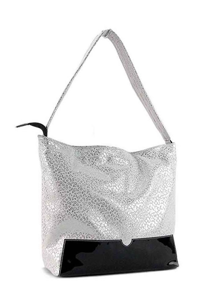 Женская кожаная сумка с лаковой вставкой Viladi 025