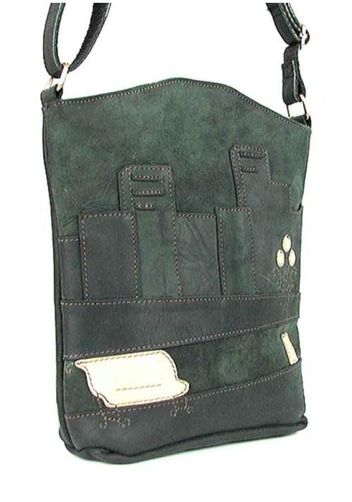Зеленая женская кожаная сумка на плечо Viladi 002