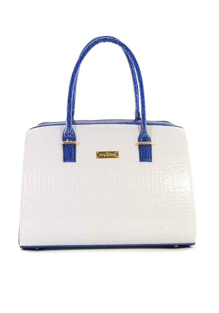 Женская сумка белый лаковый крокодил с синими ручками Betty Pretty