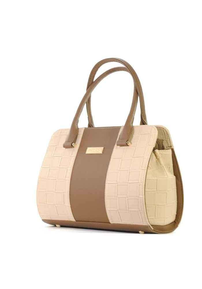 Бежевая женская сумка с коричневой вставкой