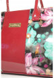 Маленькая лаковая женская сумка с цветами