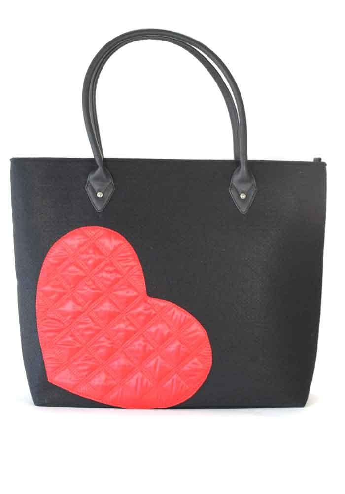 f34a469e8da8 ... Черная женская сумка из войлока с сердцем, фото №2 - интернет магазин  stunner.