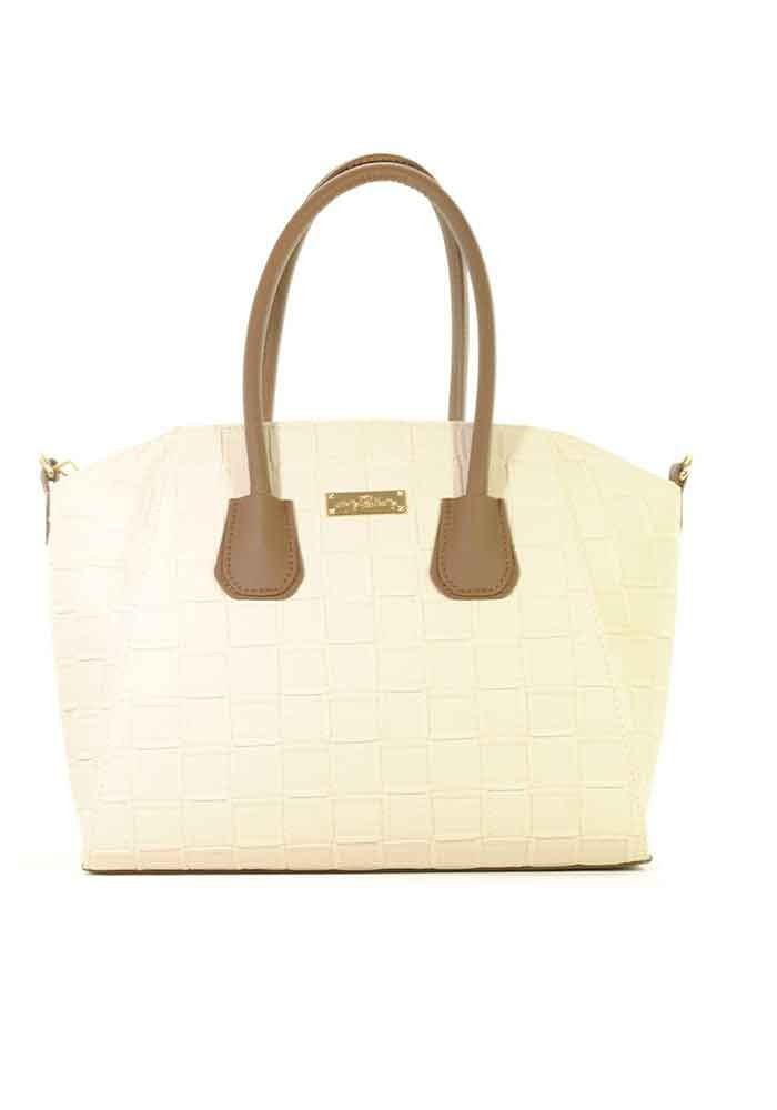 Бежевая женская сумка трапеция