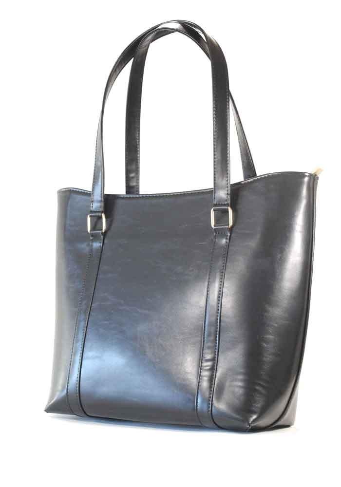 Черная глянцевая объемная женская сумка 38-1209