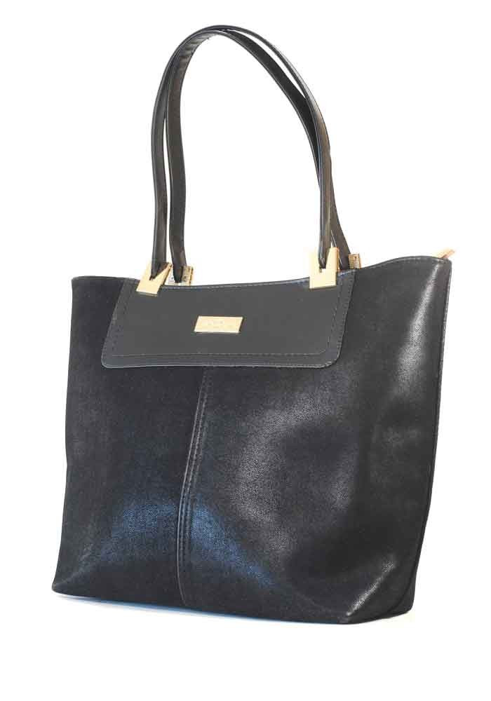 Черная велюровая женская сумка шопер