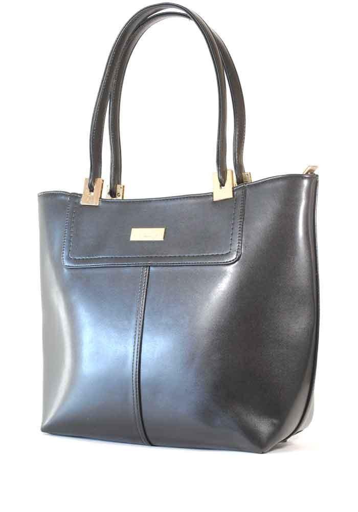 Черная глянцевая женская сумка шопер