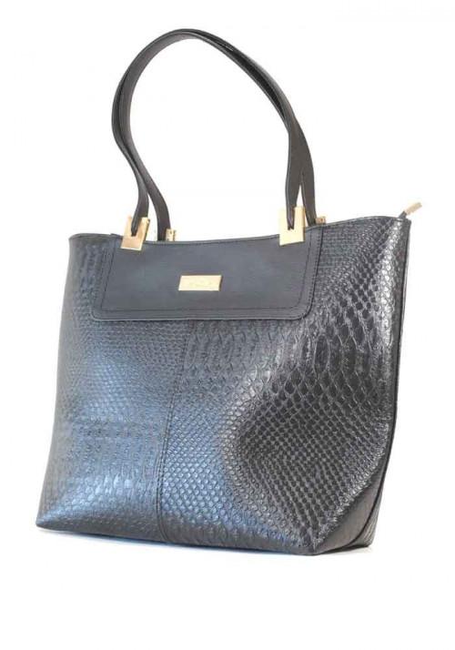 Черная женская сумка шопер дракон