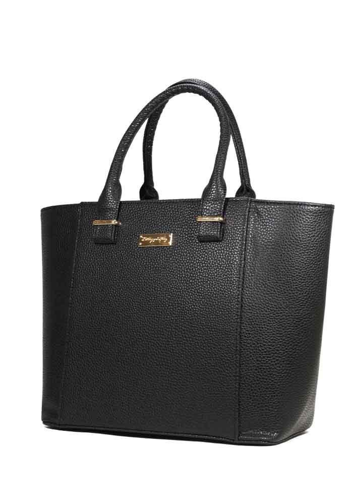 Женская сумка тоут черная матовая 44-P001