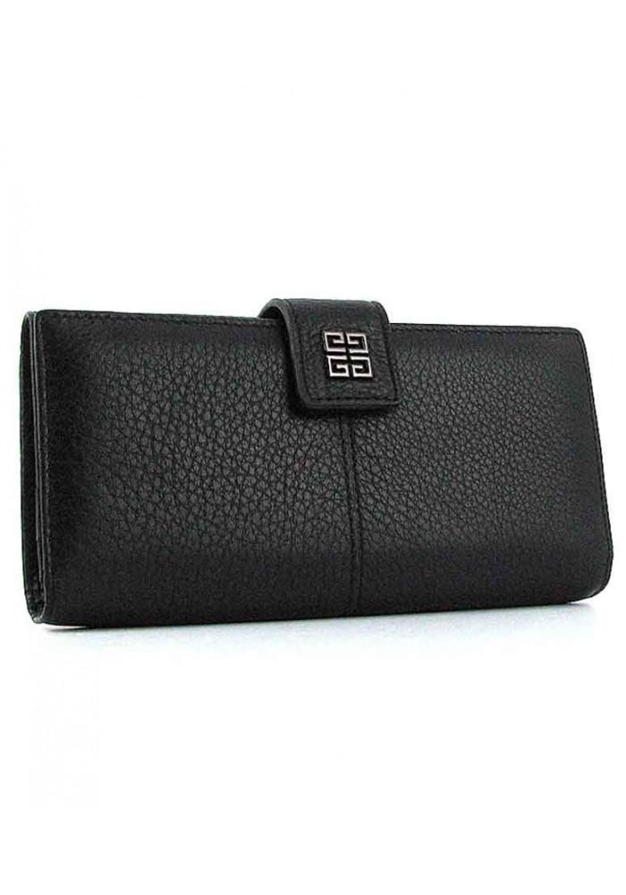 Черный женский кожаный кошелек 6287