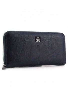 Фото Синий кожаный женский кошелек на молнии 6288