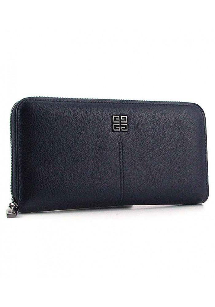 Синий кожаный женский кошелек на молнии 6288