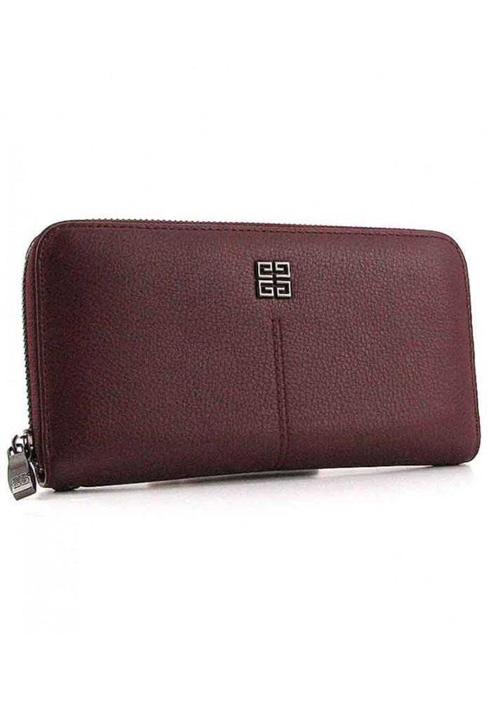 Бордовый кожаный женский кошелек на молнии 6288