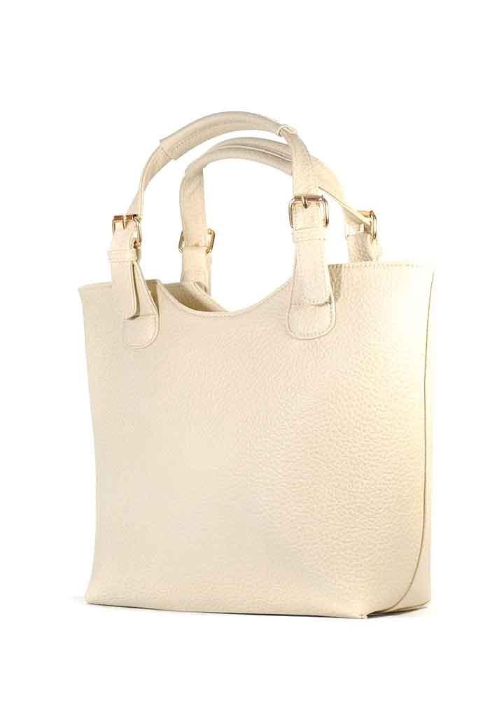 Светло-бежевая женская сумка шопер с длинной ручкой