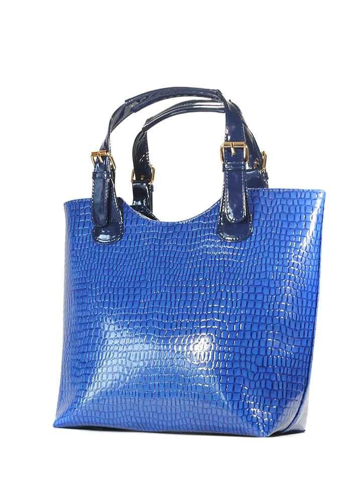 Фото Сумка женская синий лаковый шопер 48-1315