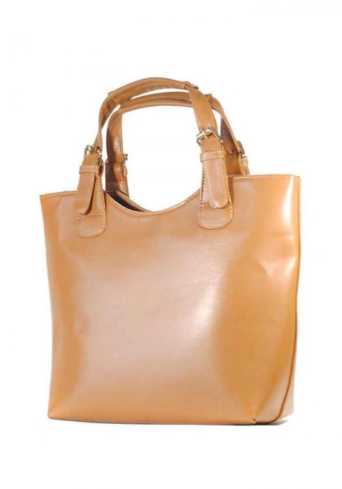 Светло-коричневая сумка женская шопер