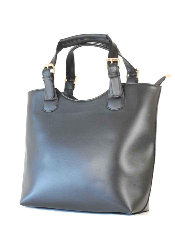 Женская сумка шопер черная глянцевая