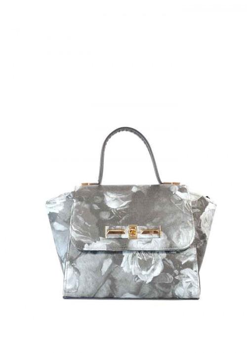 Серая женская маленькая сумка с цветами