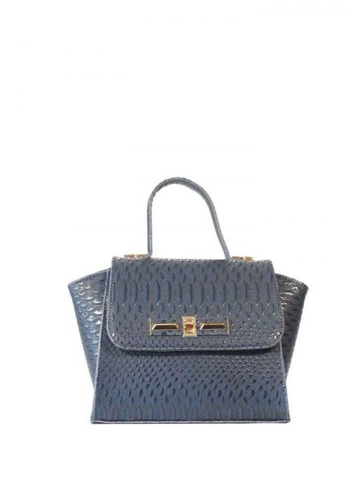 Синяя сумка женская рептилия