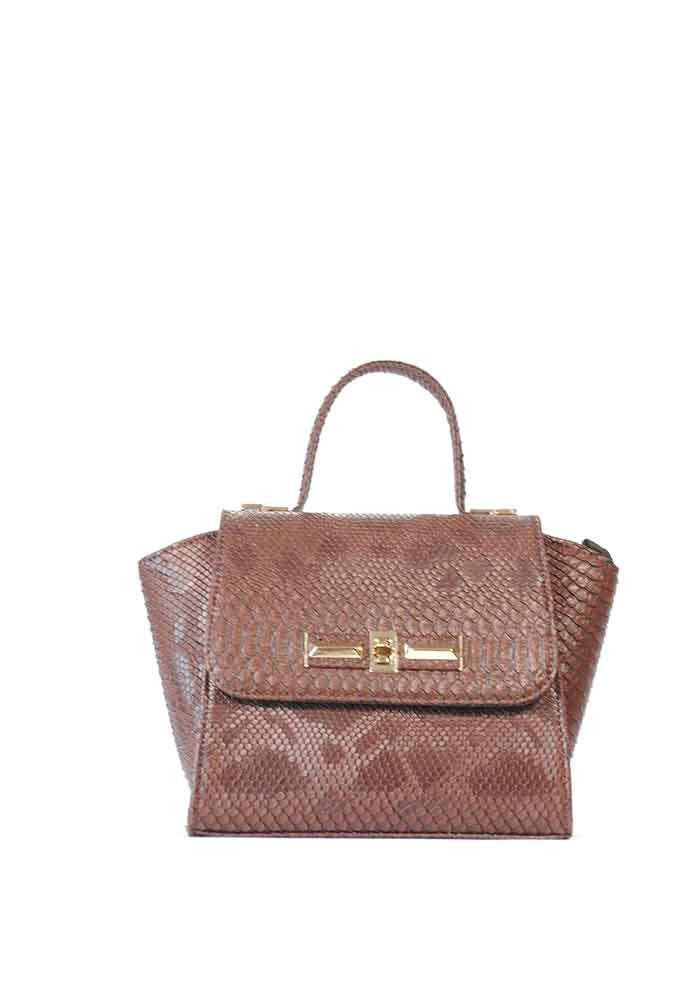 Коричневая маленькая женская сумка-клатч 52-DRACON