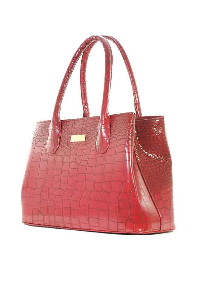 Красная женская сумка 55-CROCO