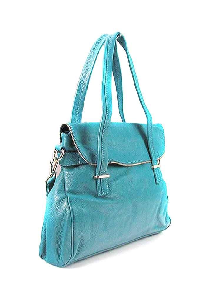 Женская кожаная сумка 6005 бирюзовая