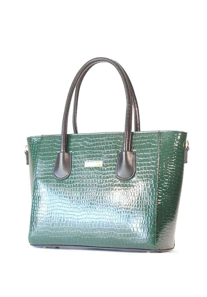 Оригинальная зеленая лаковая женская сумка с черными ручками