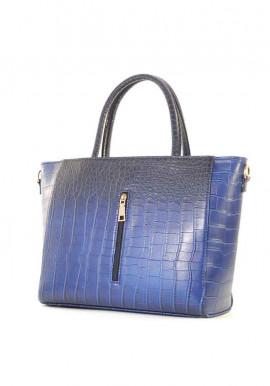 Фото Синяя матовая женская сумка с молнией 66BK-M-CROCO-BLUE