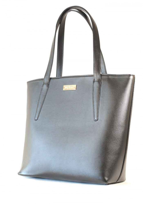 Черная женская сумка с длинными ручками