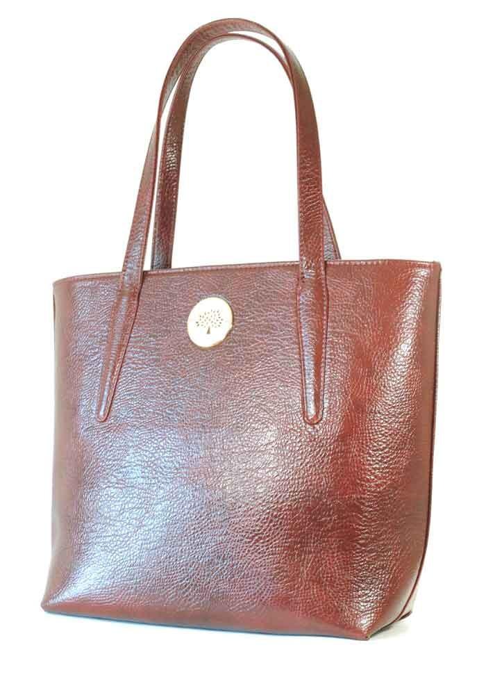 Бордовая глянцевая женская сумка с длинными ручками