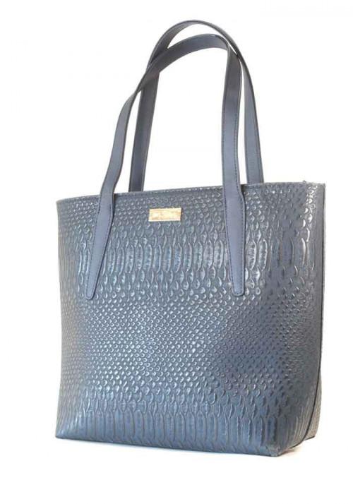 Синяя женская сумка с длинными ручками