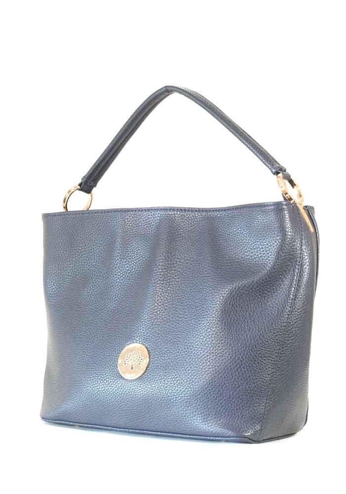 Мягкая синяя матовая женская сумка с жестким дном