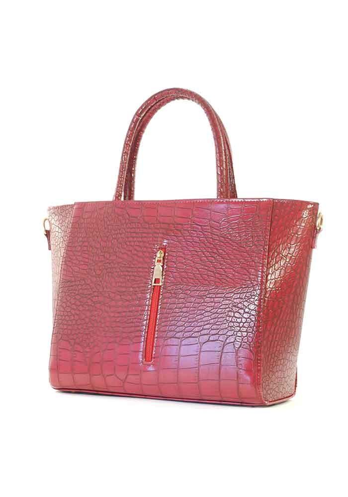 Красная матовая женская сумка с молнией 66BK-M-CROCO-RED