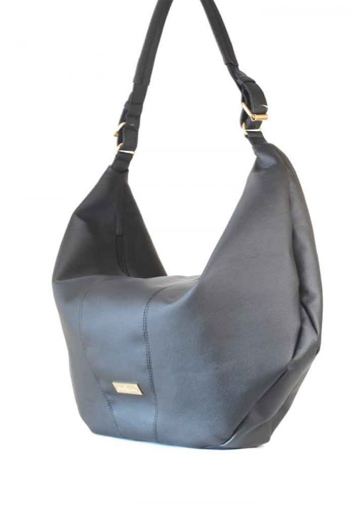 """Черная матовая гладкая женская сумка """"мешок"""""""