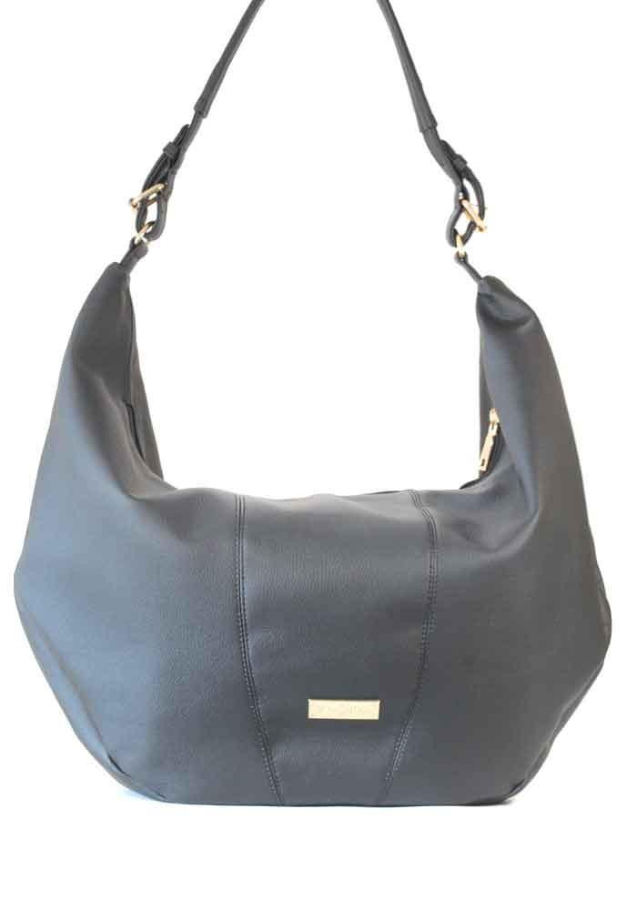 """Фото Черная матовая гладкая женская сумка """"мешок"""" 63-ARN"""