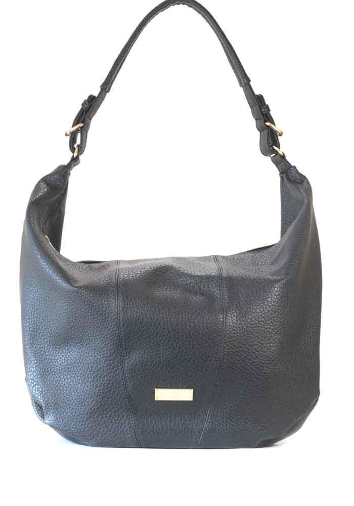 """Черная матовая женская сумка """"мешок"""" 63-P001"""
