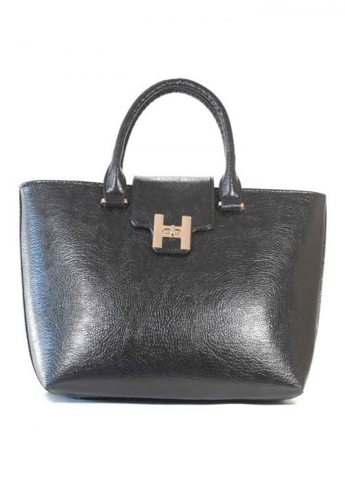 Черная глянцевая женская сумка