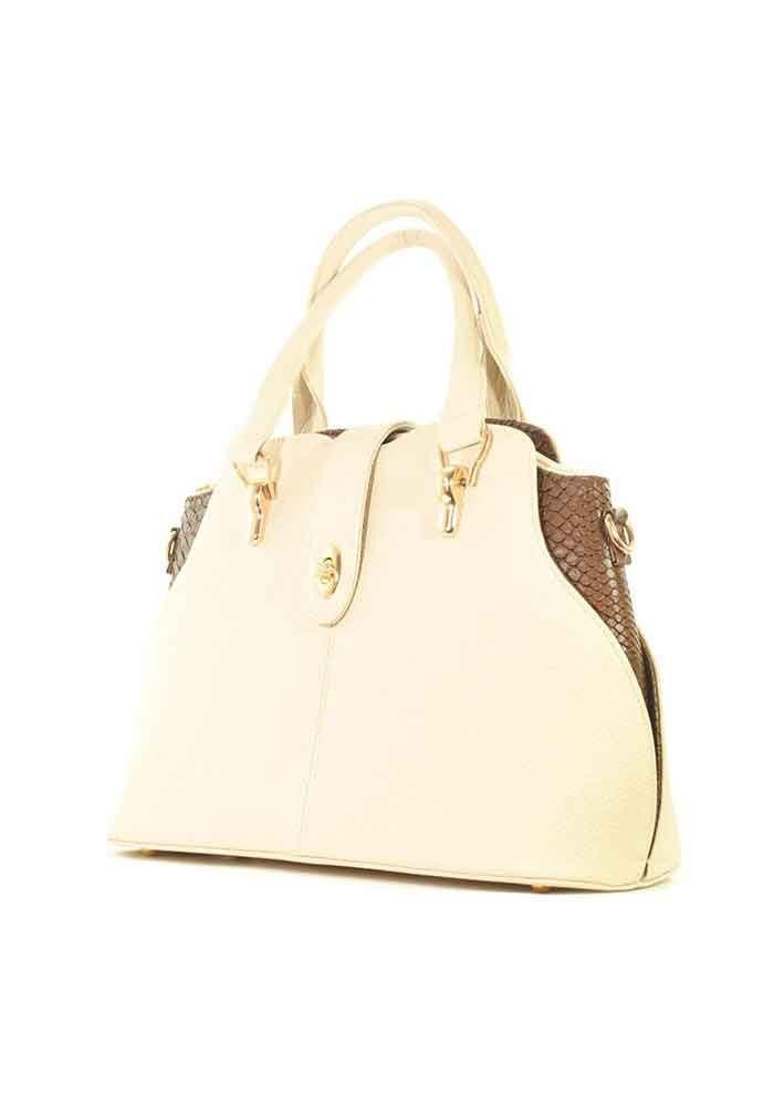 Большая бежевая женская сумка с коричневыми вставками