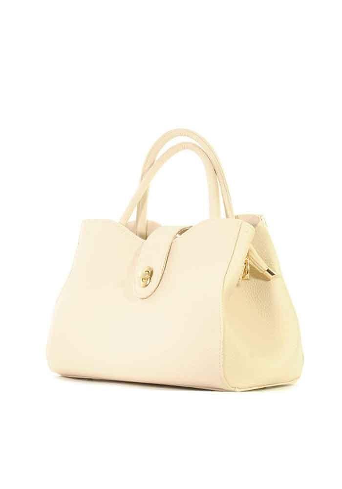 Бежевая летняя женская сумка среднего размера