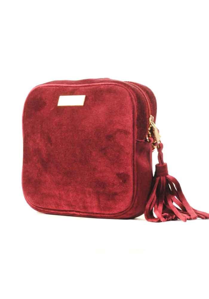 Бордовый женский клатч из велюра Betty Pretty