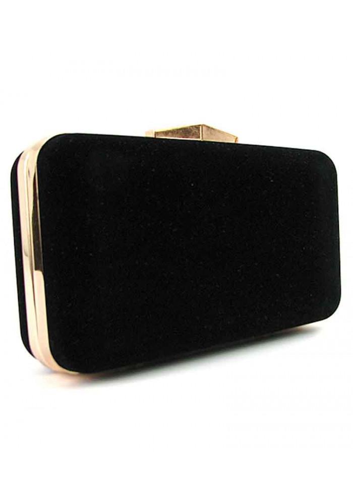Черный велюровый женский клатч-бокс 09829