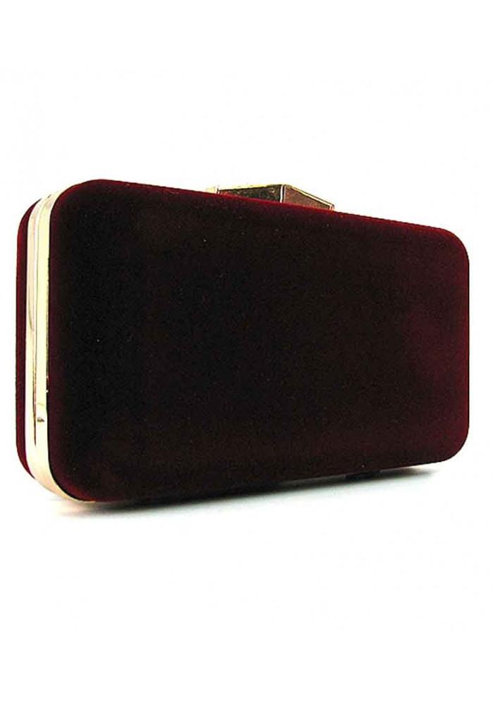 Бордовый велюровый женский клатч-бокс 09829