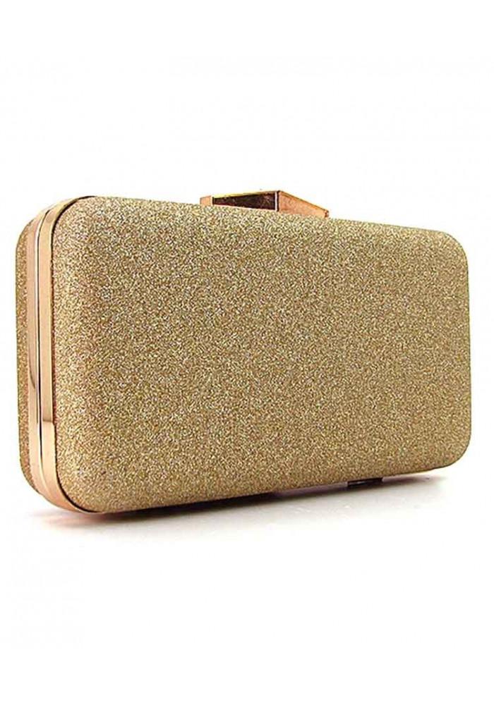 Золотистый женский клатч-бокс 09829