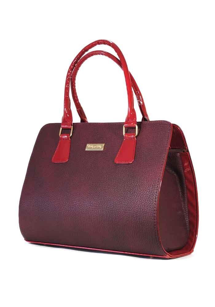 Женская каркасная красная сумка