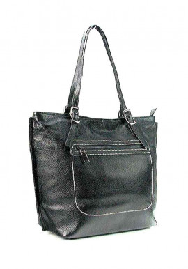 Фото Черная женская кожаная сумка с высокими ручками 9250