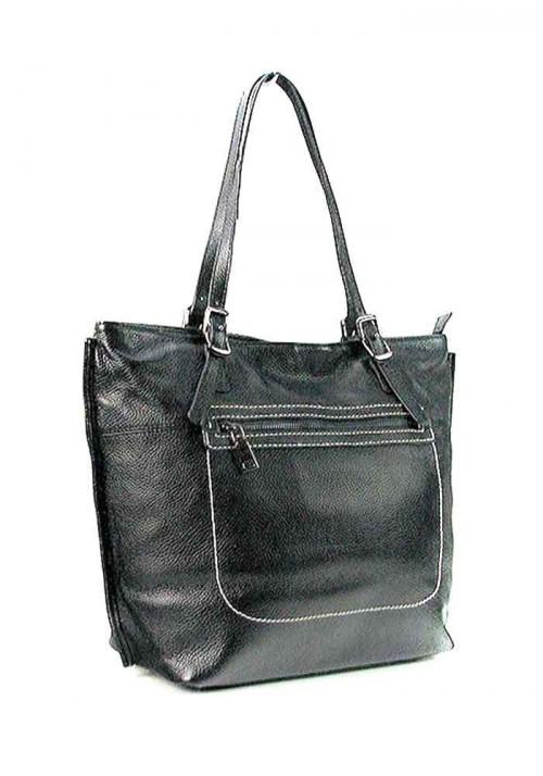 Черная женская кожаная сумка с высокими ручками 9250