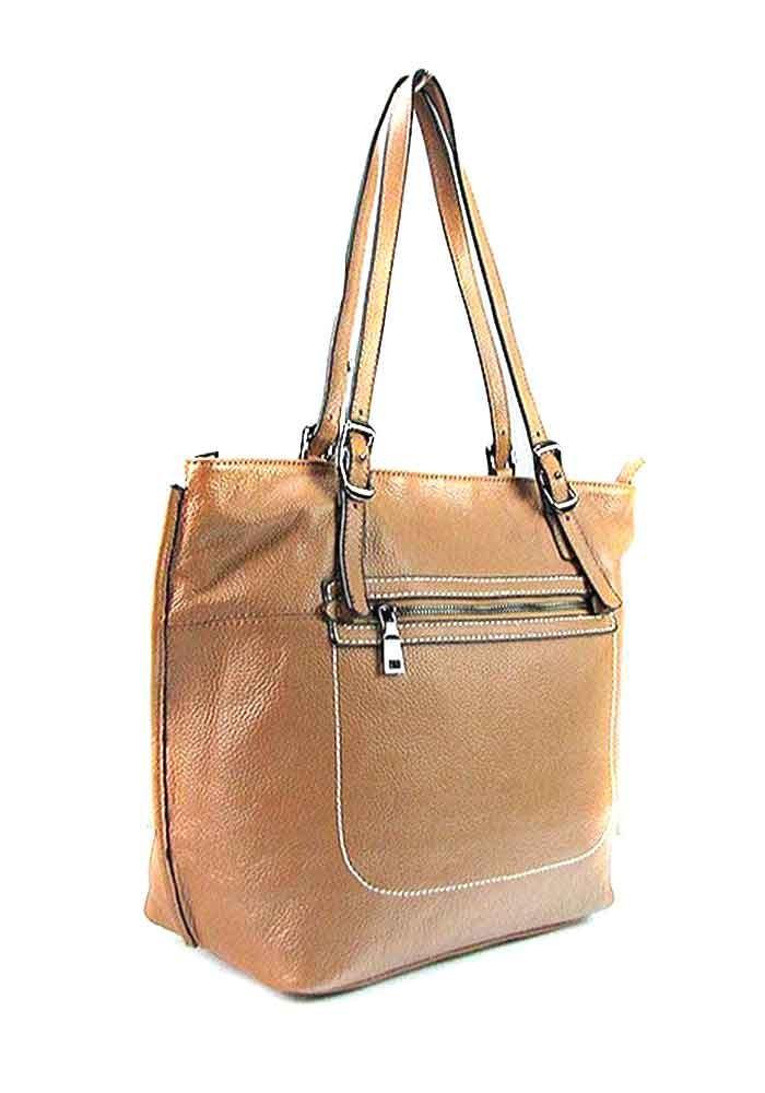 Коричневая женская кожаная сумка с высокими ручками 9250