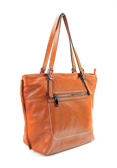 Рыжая женская кожаная сумка с высокими ручками 9250