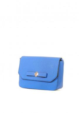 Синий женский клатч с бантом фото