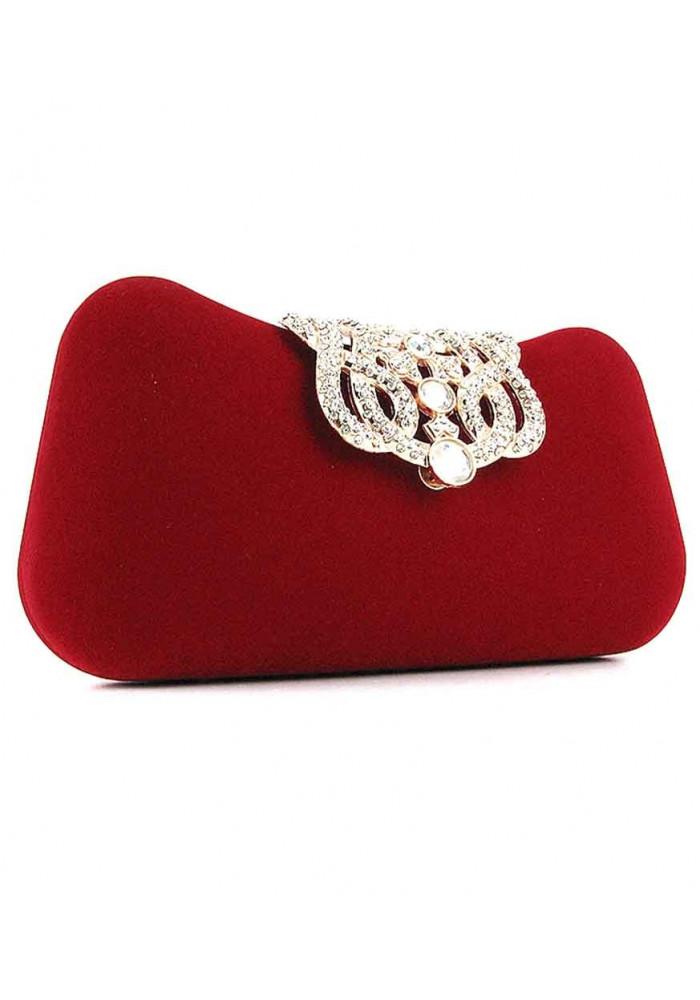 Красный каркасный женский вечерний клатч 1829